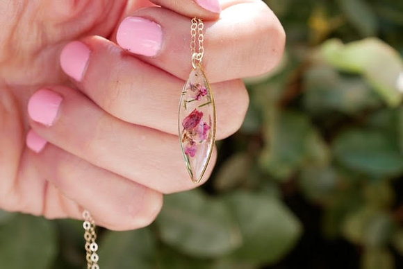 Pressed Heather Flower Ellipse Necklace.