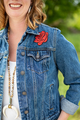 Denim Jacket with Red Rose Patch
