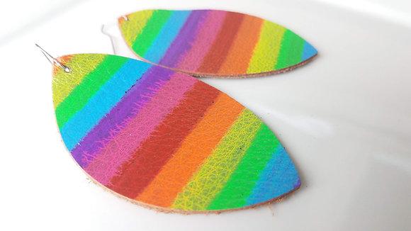 Rainbow Pride Marquise Leather Earrings