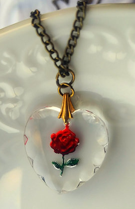 Crystal Intaglio Heart Necklace with Red Rose