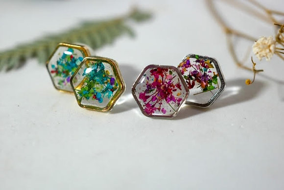 Real Flower Confetti Studs