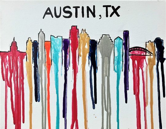 """Fluid City"" – Austin Skyline Painting Print"