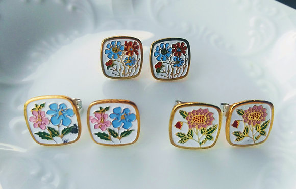 Square Enamel Flower Stud Earrings