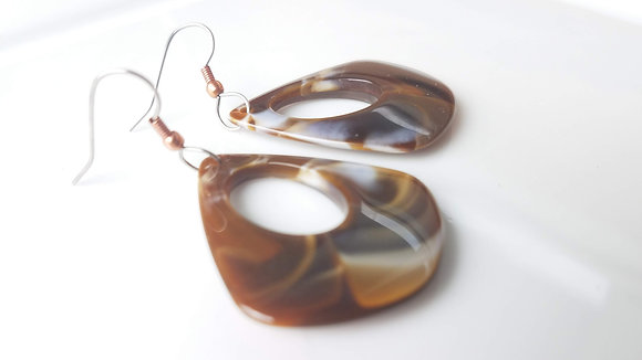 Coffee-Colored Acetate Tortoise Shell Earrings