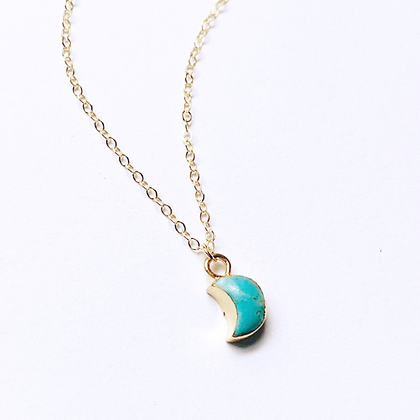 Turquoise Howlite Moon Necklace