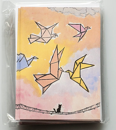 Cat & Origami Birds Greeting Cards
