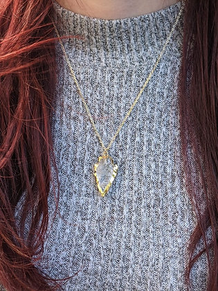 Clear Quartz Arrowhead Edged in Gold