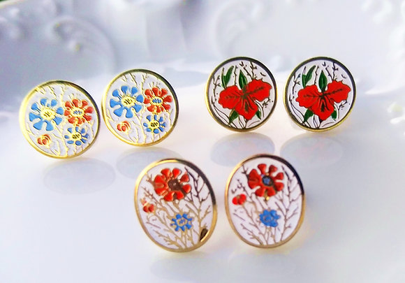 Round & Oval Enamel Flower Studs