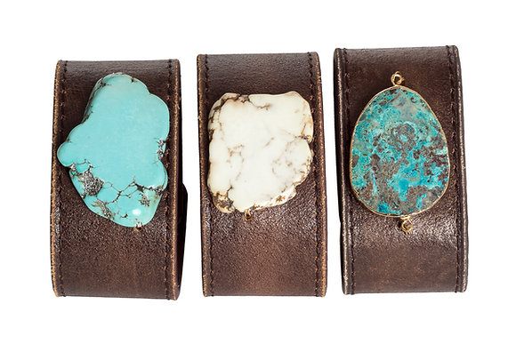 Leather Cuffs with Semi-precious Stones