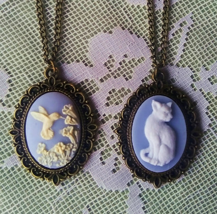 Cat & Hummingbird Cameo Necklaces