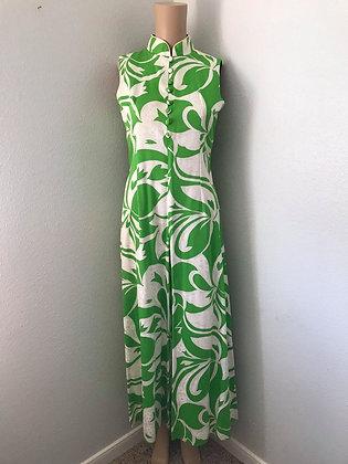 Green and White Hawaiian Palazzo Pantsuit