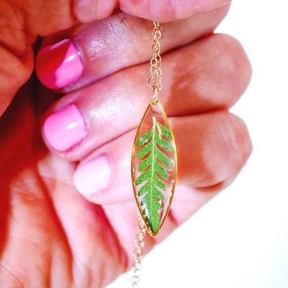 Pressed Fern Ellipse Necklace