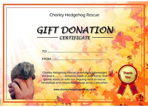 Autumn Gift Certificate