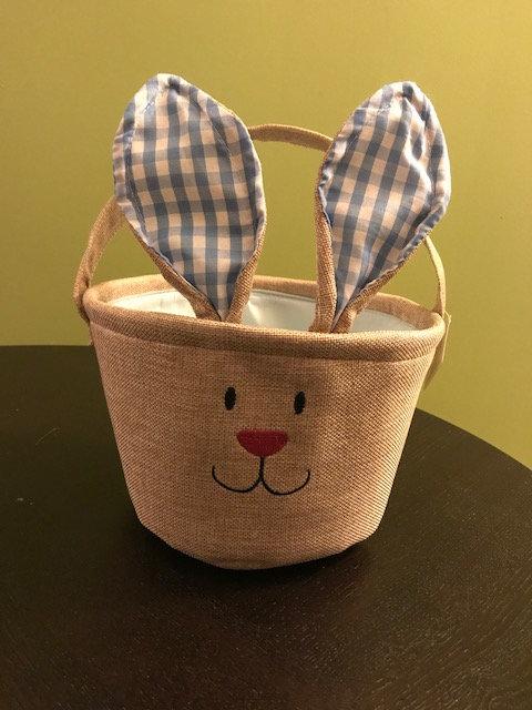 Burlap Blue Gingham Bunny Basket