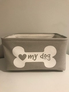 "Gray ""Heart my dog"" cloth basket"