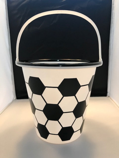 Black and White Plastic Soccer Bucket