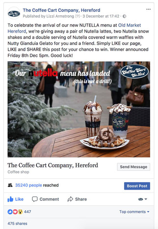 Social media for The Coffee Cart