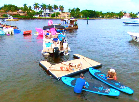 Does your boat charter have a floating-party dock... NO??? Say what???