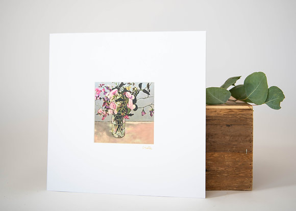 Small Sweet Pea, Blue Background Print