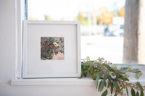 Small Sweet Pea Print, Gray Background