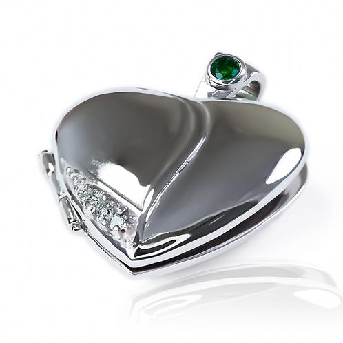 Relicario corazón, esmeralda + diamantes