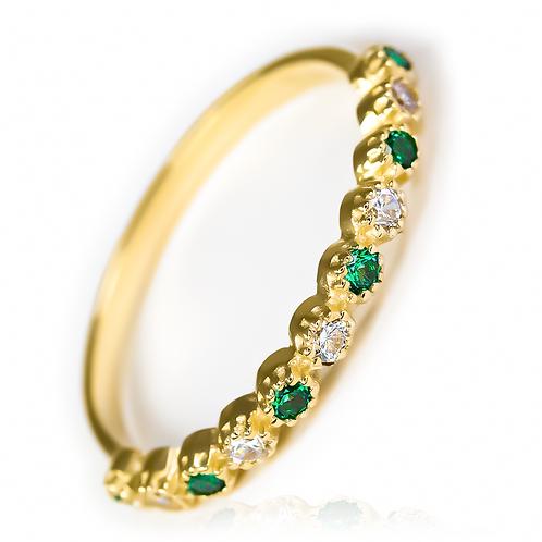 Caterpillar cristal Ring JC green