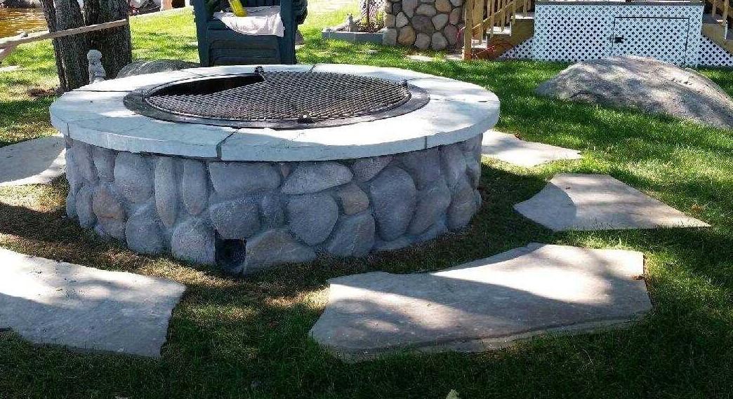 custom veneer fire pit with custom grate