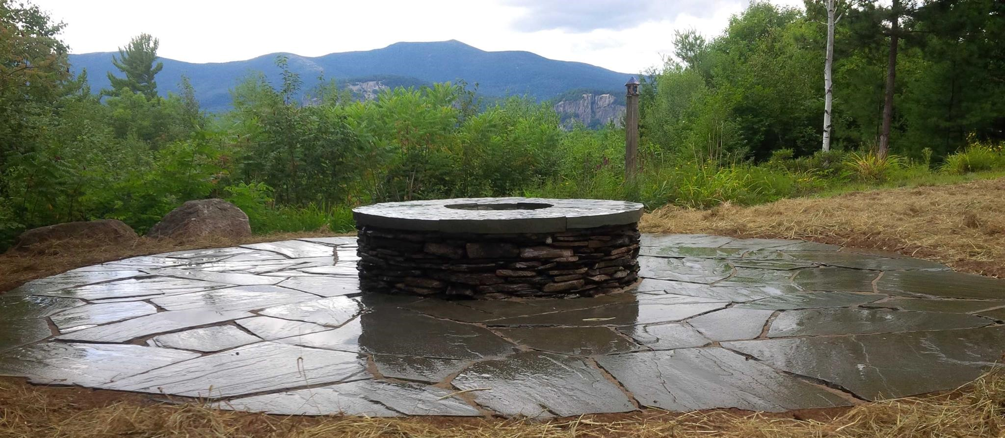 loose fit blue stone and custom fire pit