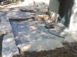 Blue stone entry with catch basin
