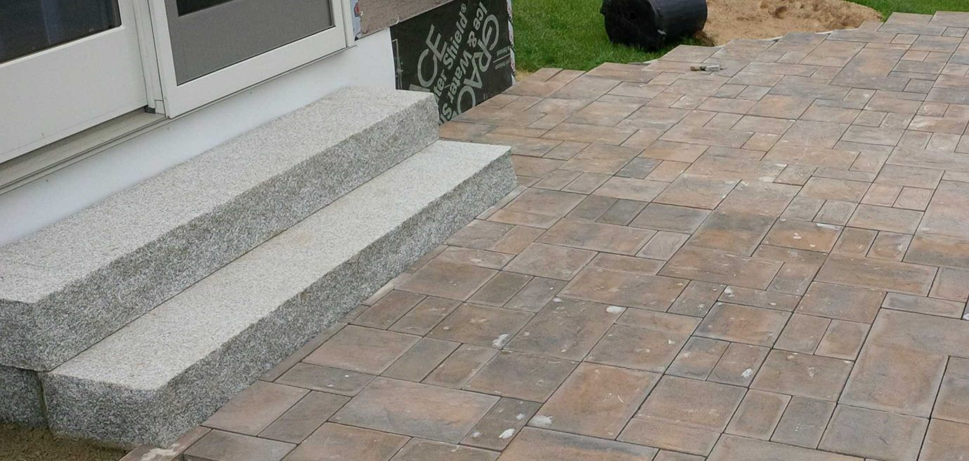 paver patio and granite steps