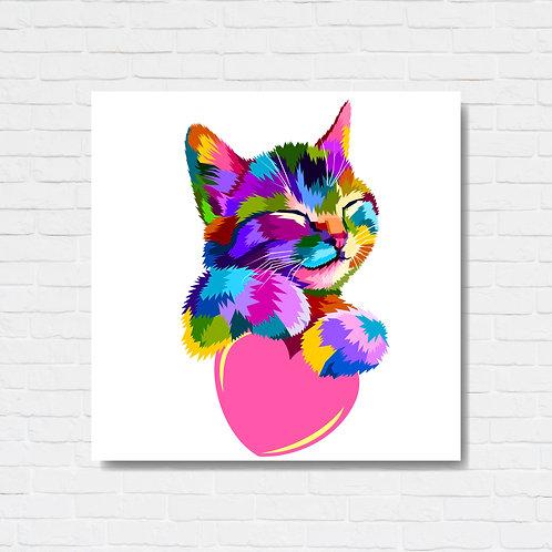 Quadro decorativo texturizado - Cat collor