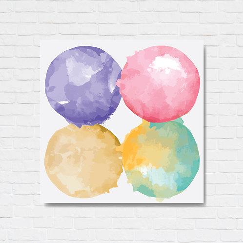 Quadro decorativo texturizado - Four colored circles