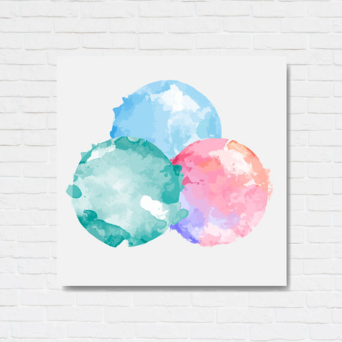 Quadro decorativo texturizado - Three colored circles