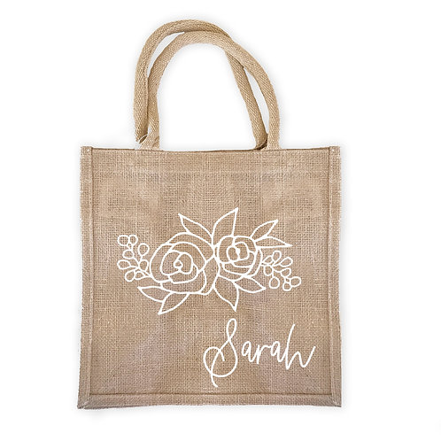 Personalized Burlap Tote Bag