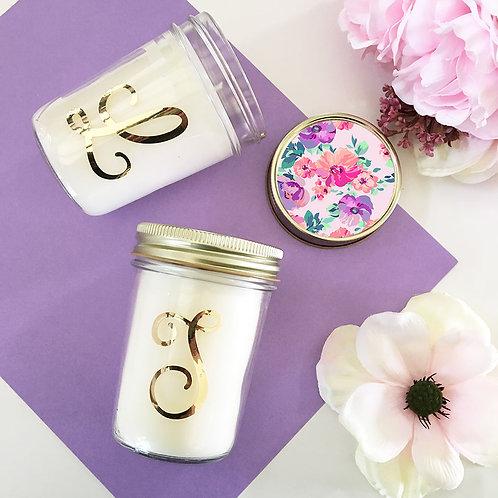 Monogram Mason Jar Candle