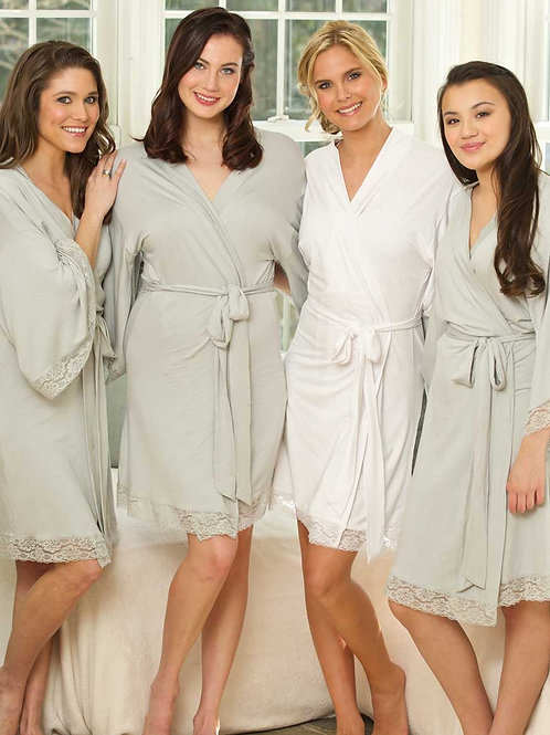 Monogrammed Jersey Lace Robe