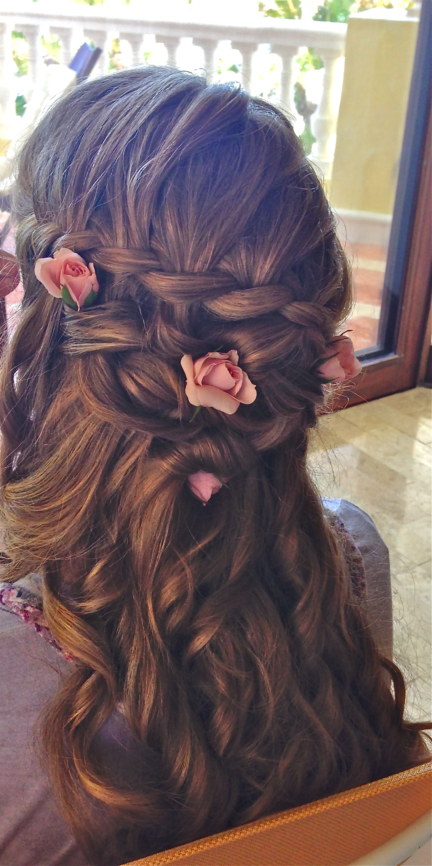 Soft Curls with Beautiful Flowers