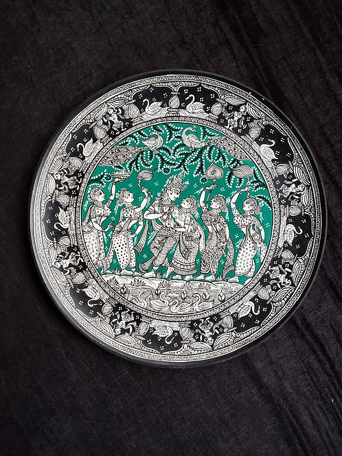 Handpainted Raas Leela traditional wall plate