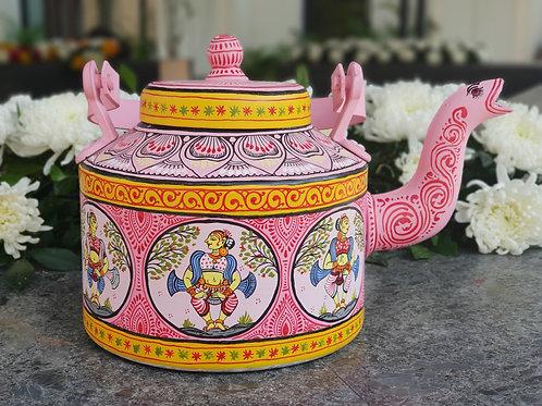 Pink and White handpainted Pattachitra Dancer Aluminium Teapot