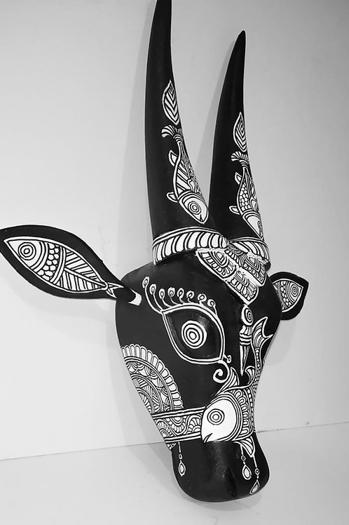 Black and White Madhubani handpainted  Wooden Cow Head