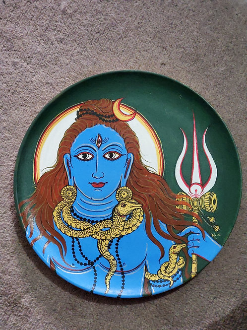 Lord Shiva Handpainted Indian traditional wall plate