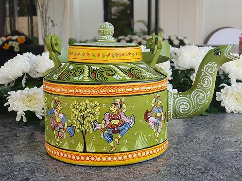 Moss Green handpainted Pattachitra Dancer Aluminium Teapot