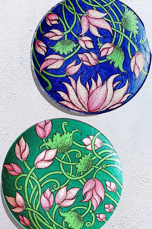 Handpainted Lotus wall plate set