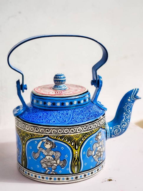 Blue and white handpainted Pattachitra dancer Aluminium Teapot