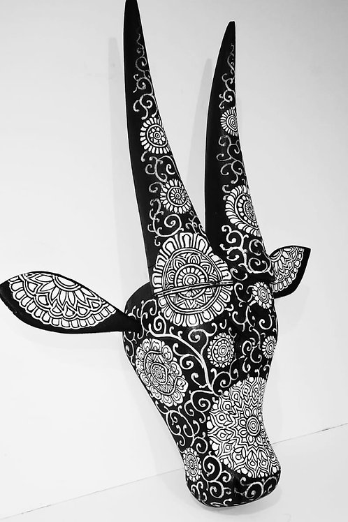 Black and White Mandala handpainted  Wooden Cow Head