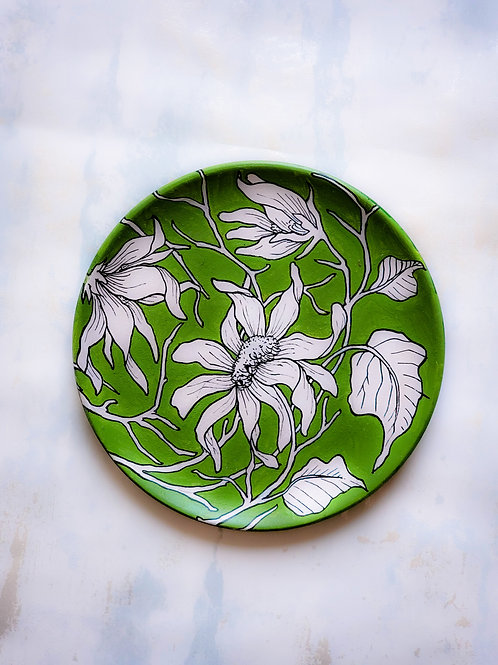 Floral Green Handpainted Indian traditional wall plate