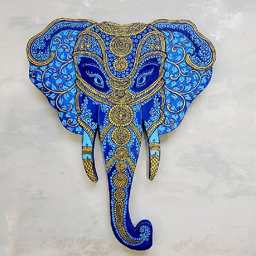 Blue and Gold Pattachitra Elephant Head