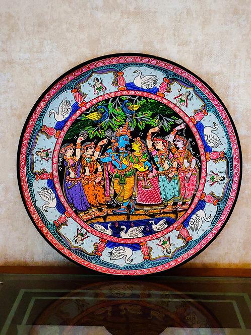 Multicolored Krishna Raas Leela Wall Plate