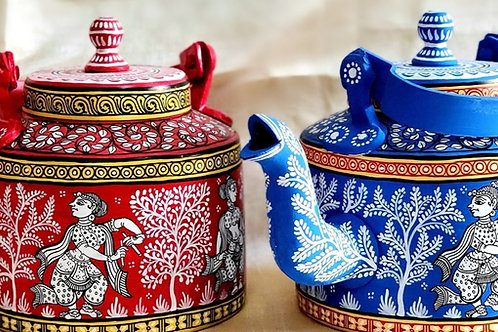Set of 2 : Red and Blue Pattachitra Handpainted Teapots