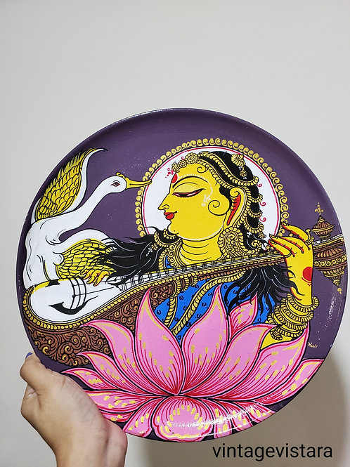 Saraswati Handpainted Indian traditional wall plate
